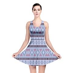 Fancy Tribal Border Pattern Blue Reversible Skater Dresses