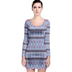 Fancy Tribal Border Pattern Blue Long Sleeve Bodycon Dresses