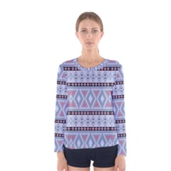 Fancy Tribal Border Pattern Blue Women s Long Sleeve T-shirts