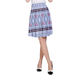 Fancy Tribal Border Pattern Blue A-Line Skirts