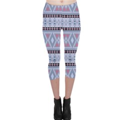 Fancy Tribal Border Pattern Blue Capri Leggings