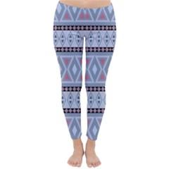 Fancy Tribal Border Pattern Blue Winter Leggings