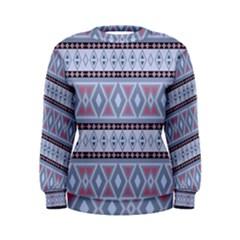 Fancy Tribal Border Pattern Blue Women s Sweatshirts