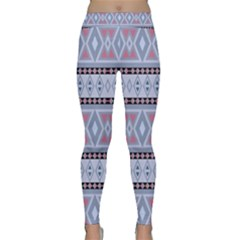Fancy Tribal Border Pattern Blue Yoga Leggings