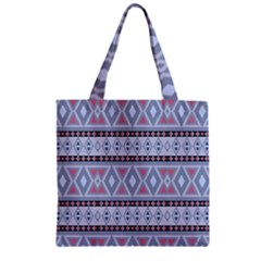 Fancy Tribal Border Pattern Blue Zipper Grocery Tote Bags