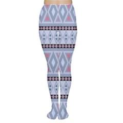 Fancy Tribal Border Pattern Blue Women s Tights