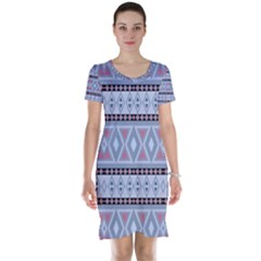 Fancy Tribal Border Pattern Blue Short Sleeve Nightdresses
