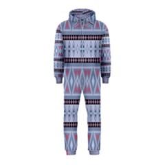 Fancy Tribal Border Pattern Blue Hooded Jumpsuit (Kids)