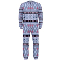Fancy Tribal Border Pattern Blue OnePiece Jumpsuit (Men)