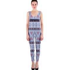 Fancy Tribal Border Pattern Blue OnePiece Catsuits