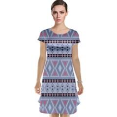 Fancy Tribal Border Pattern Blue Cap Sleeve Nightdresses