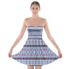 Fancy Tribal Border Pattern Blue Strapless Bra Top Dress