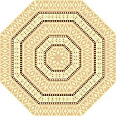 Fancy Tribal Border Pattern Beige Straight Umbrellas