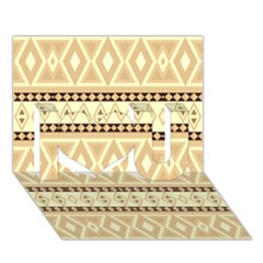 Fancy Tribal Border Pattern Beige I Love You 3D Greeting Card (7x5)