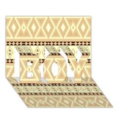Fancy Tribal Border Pattern Beige BOY 3D Greeting Card (7x5)