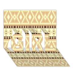 Fancy Tribal Border Pattern Beige GIRL 3D Greeting Card (7x5)