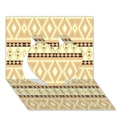 Fancy Tribal Border Pattern Beige Heart 3d Greeting Card (7x5)