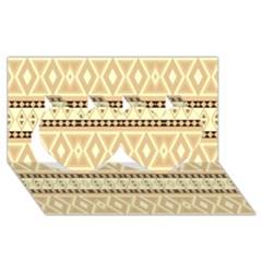 Fancy Tribal Border Pattern Beige Twin Hearts 3d Greeting Card (8x4)