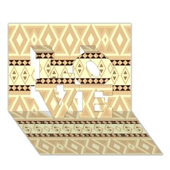 Fancy Tribal Border Pattern Beige Love 3d Greeting Card (7x5)