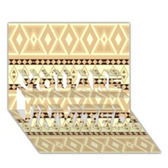 Fancy Tribal Border Pattern Beige YOU ARE INVITED 3D Greeting Card (7x5)