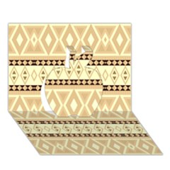 Fancy Tribal Border Pattern Beige Apple 3D Greeting Card (7x5)