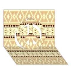 Fancy Tribal Border Pattern Beige Peace Sign 3D Greeting Card (7x5)