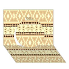 Fancy Tribal Border Pattern Beige Circle 3D Greeting Card (7x5)