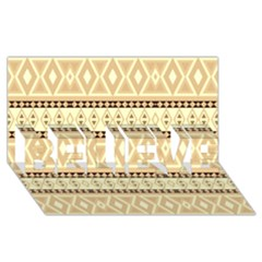 Fancy Tribal Border Pattern Beige Believe 3d Greeting Card (8x4)