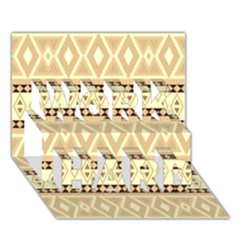 Fancy Tribal Border Pattern Beige WORK HARD 3D Greeting Card (7x5)