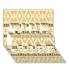 Fancy Tribal Border Pattern Beige Take Care 3d Greeting Card (7x5)