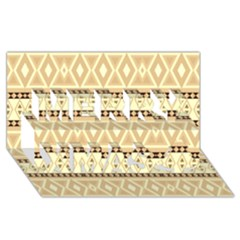Fancy Tribal Border Pattern Beige Merry Xmas 3D Greeting Card (8x4)