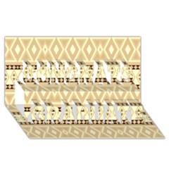 Fancy Tribal Border Pattern Beige Congrats Graduate 3D Greeting Card (8x4)