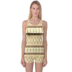 Fancy Tribal Border Pattern Beige Women s Boyleg One Piece Swimsuits