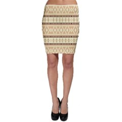 Fancy Tribal Border Pattern Beige Bodycon Skirts