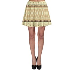 Fancy Tribal Border Pattern Beige Skater Skirts