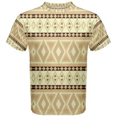 Fancy Tribal Border Pattern Beige Men s Cotton Tees