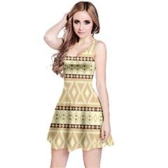 Fancy Tribal Border Pattern Beige Reversible Sleeveless Dresses