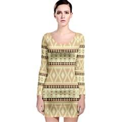 Fancy Tribal Border Pattern Beige Long Sleeve Bodycon Dresses