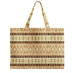 Fancy Tribal Border Pattern Beige Tiny Tote Bags