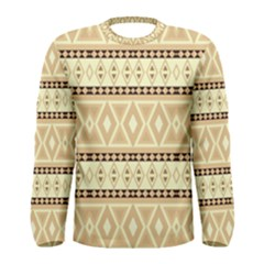 Fancy Tribal Border Pattern Beige Men s Long Sleeve T-shirts