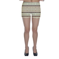 Fancy Tribal Border Pattern Beige Skinny Shorts