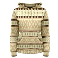 Fancy Tribal Border Pattern Beige Women s Pullover Hoodies