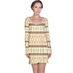 Fancy Tribal Border Pattern Beige Long Sleeve Nightdresses