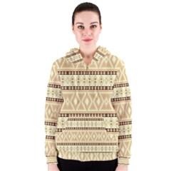 Fancy Tribal Border Pattern Beige Women s Zipper Hoodies