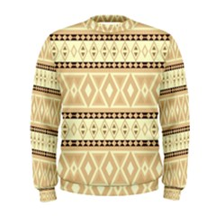 Fancy Tribal Border Pattern Beige Men s Sweatshirts