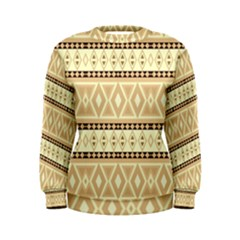 Fancy Tribal Border Pattern Beige Women s Sweatshirts
