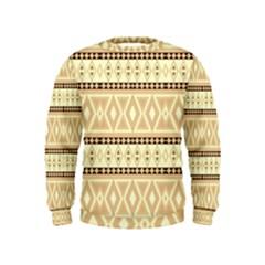 Fancy Tribal Border Pattern Beige Boys  Sweatshirts