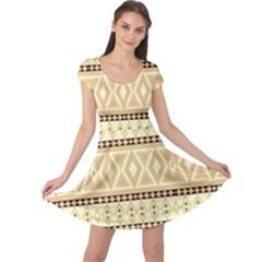Fancy Tribal Border Pattern Beige Cap Sleeve Dresses