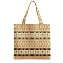 Fancy Tribal Border Pattern Beige Zipper Grocery Tote Bags