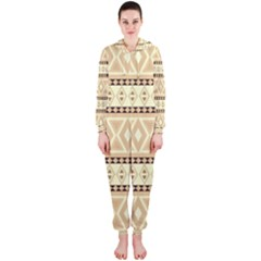 Fancy Tribal Border Pattern Beige Hooded Jumpsuit (Ladies)